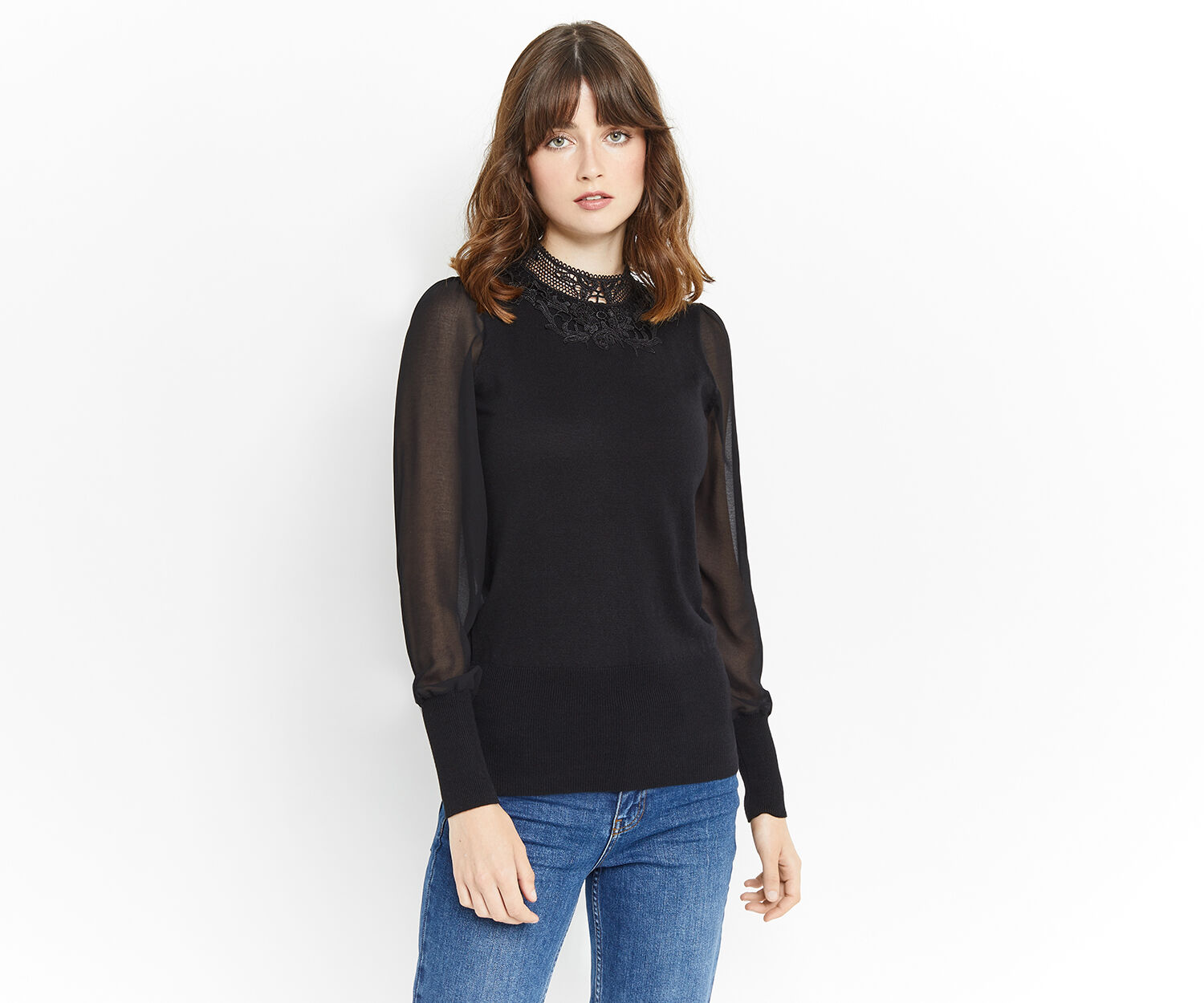 Oasis, LACE SHEER SLEEVE KNIT Black 1