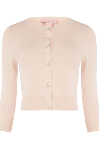 Oasis, Jewelled button cardigan Light Neutral 0