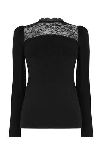 Oasis, LACE INSERT LONG SLEEVE TOP Black 0