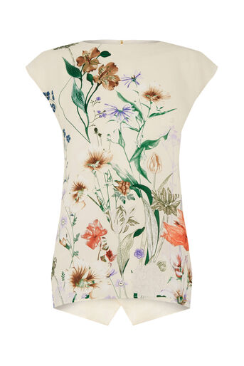 Oasis, FLORAL PRINT TEE Off White 0