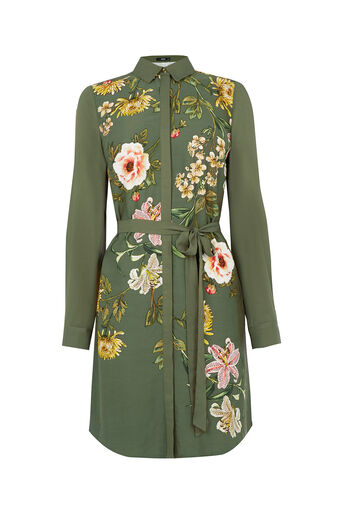 Oasis, Floral Print Shirt Dress Multi Green 0