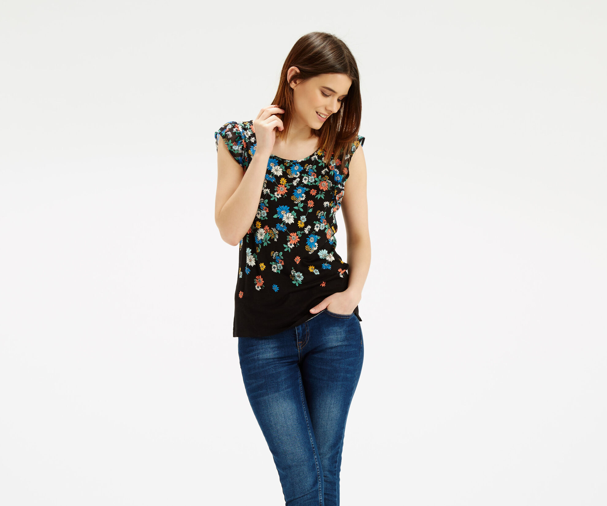 Oasis, Scattered Edie Frill T-Shirt Multi 1