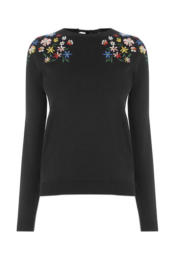 Oasis, EMBROIDERED FLORAL KNIT Black 0