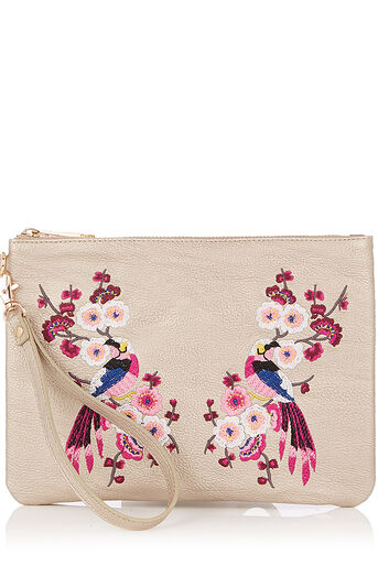 Oasis, KIMONO EMBROIDERED CLUTCH Mid Grey 0