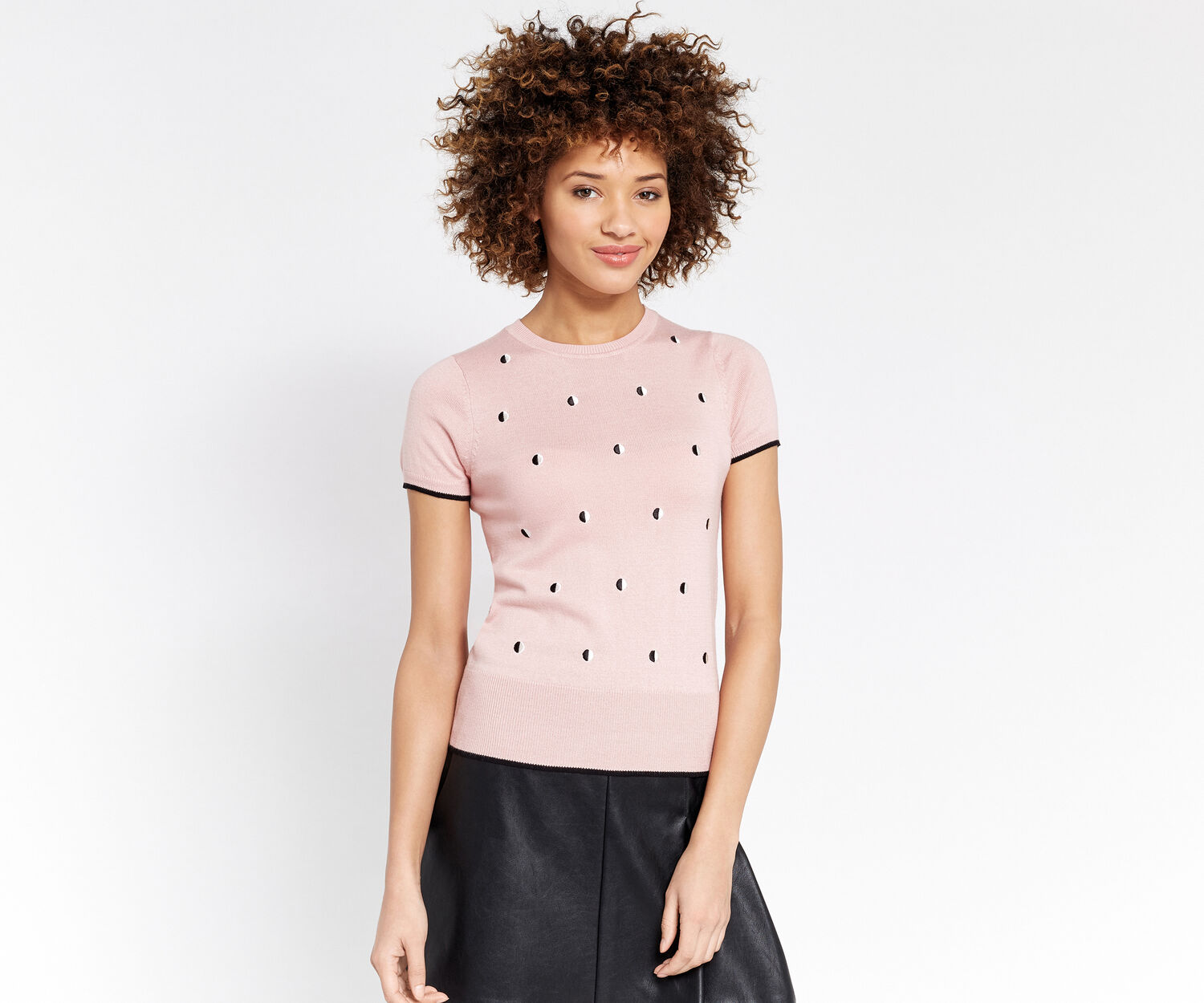 Oasis, Embroidered spot knit Pale Pink 1