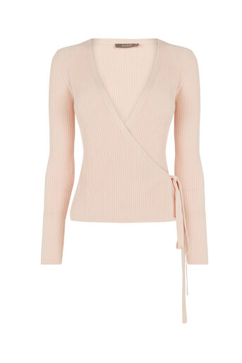 Oasis, Rib ballet wrap top Light Neutral 0
