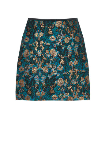 Oasis, WARNER JACQUARD MINI SKIRT Multi Blue 0