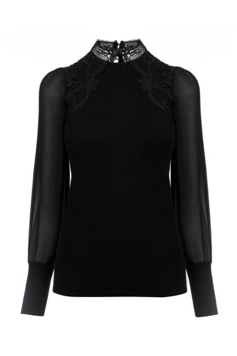 Oasis, Lace & sheer knit Black 0