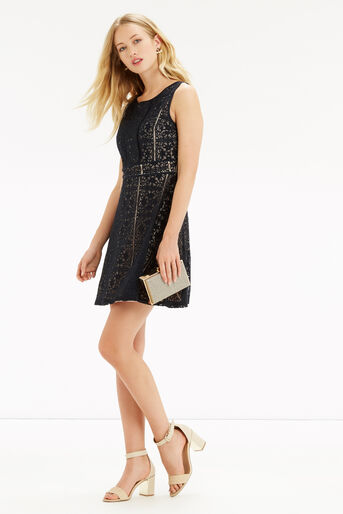 Oasis, Lace Skater Dress Mid Grey 2