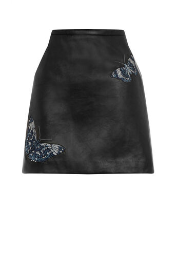 Oasis, FOREST FAUX LEATHER SKIRT Black 0