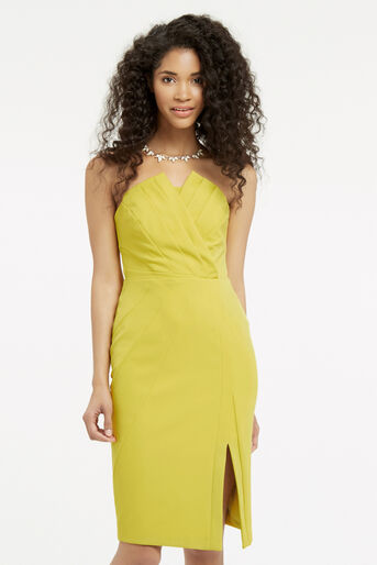 Oasis, STRUCTURED BANDEAU DRESS Lime Green 1
