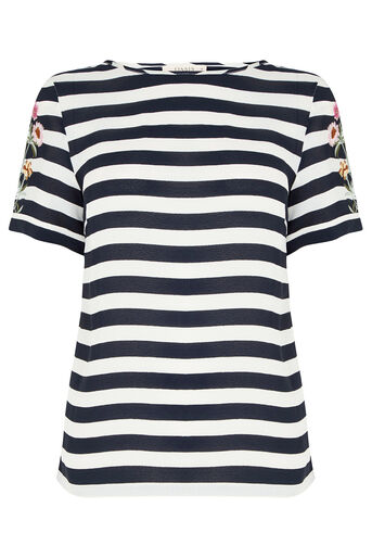 Oasis, Formal Stripe Embroidered T-Sh Black and White 0