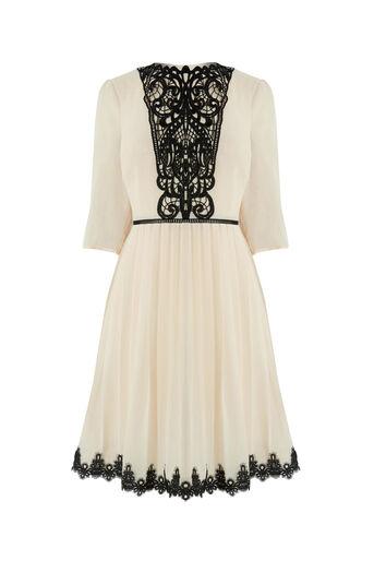 Oasis, ROSIE LACE YOKE PLEAT DRESS Off White 0