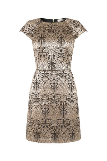 Oasis, WARNER JACQUARD SHIFT DRESS Gold 0