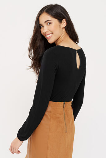Oasis, RUFFLE WOVEN FRONT BLOUSE Black 3