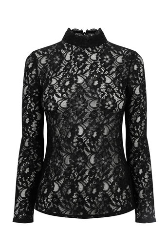 Oasis, LACE TURTLENECK TOP Black 0