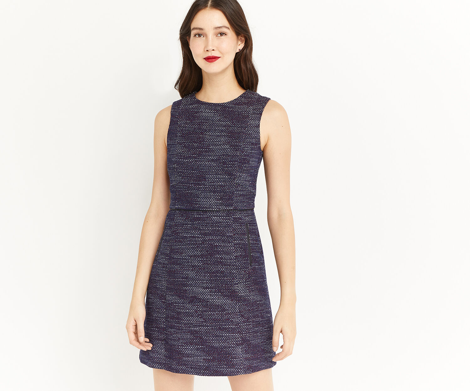 Oasis, MERLOT TWEED SHIFT DRESS Multi 1