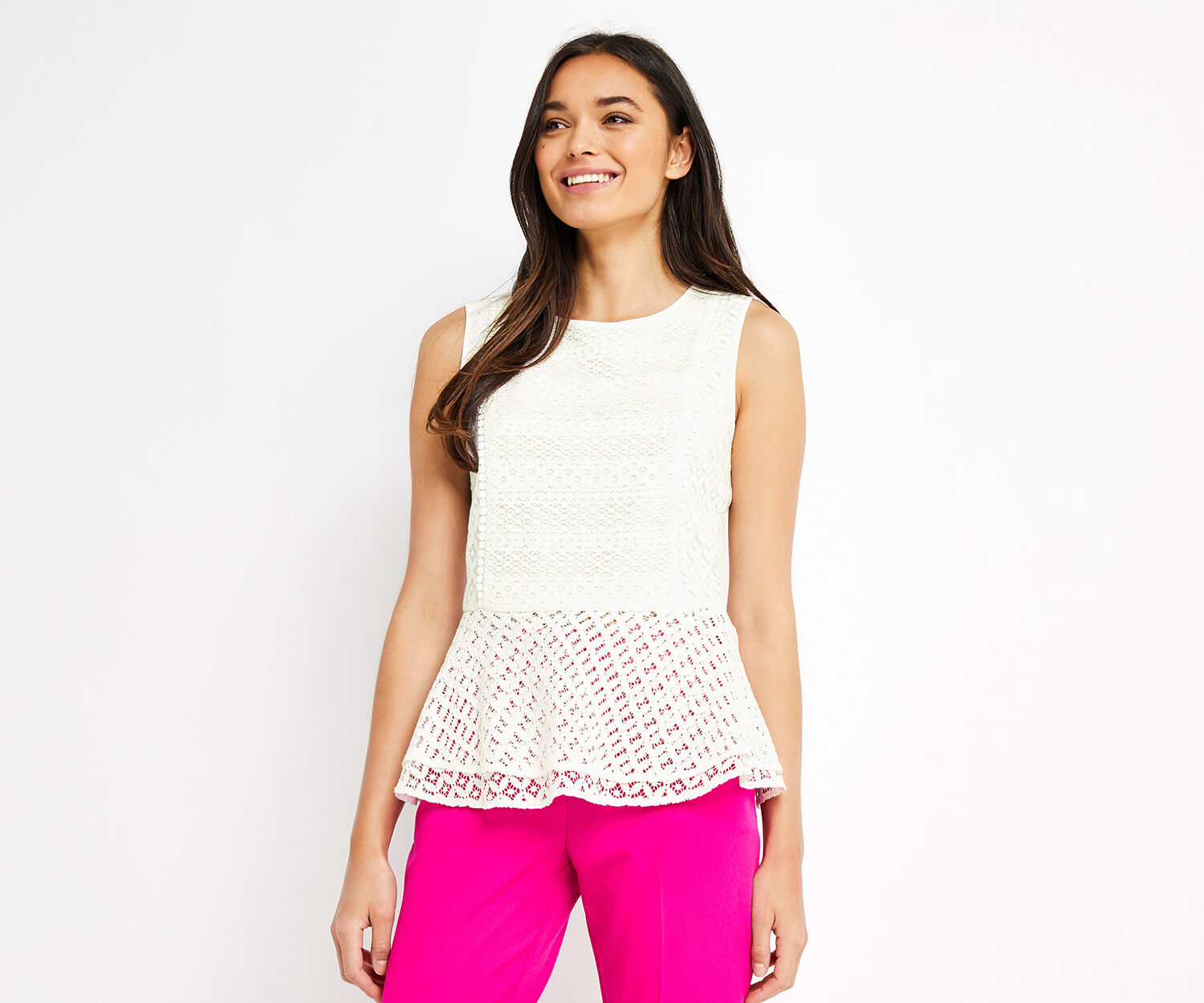 Oasis, LACE PEPLUM TOP Off White 1
