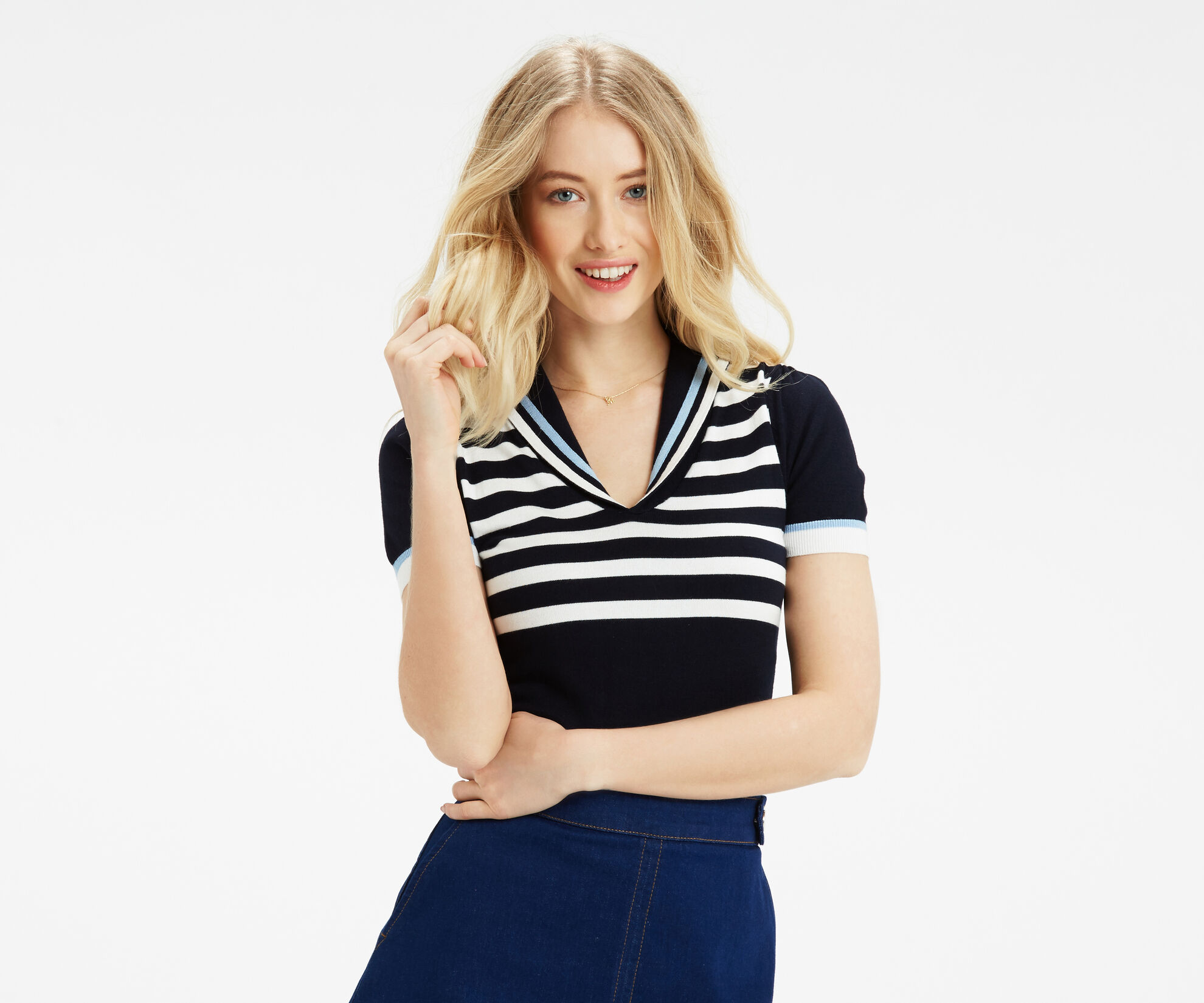 Oasis, Sailor Knitted Top Multi Blue 1