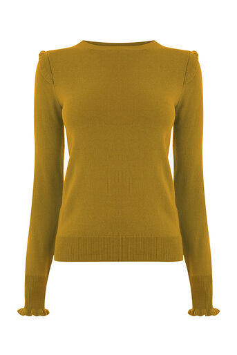 Oasis, FRILL SHOULDER & CUFF KNIT Mid Green 0