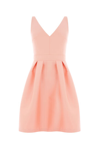 Oasis, SATIN FIT & FLARE DRESS Coral 0