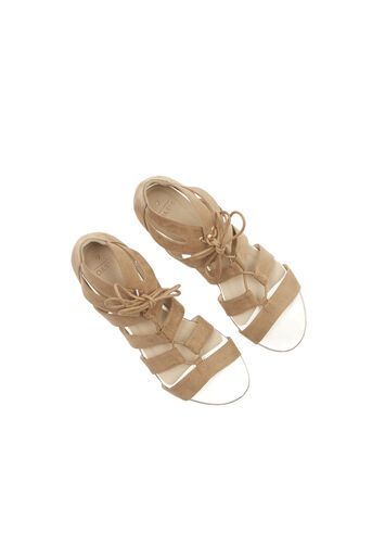 Oasis, Winona Lace Up Ghillie Wedge S Stone 2