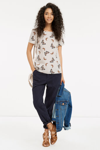 Oasis, Butterfly Print T-Shirt Mid Grey 2