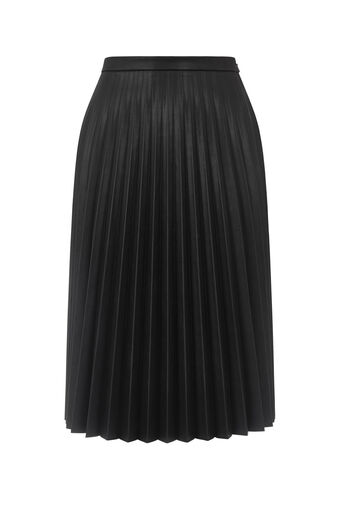 Oasis, FAUX LEATHER PLEAT MIDI SKIRT Black 0