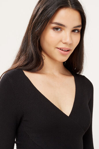 Oasis, Rib wrap top Black 4