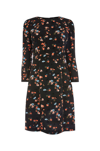 Oasis, RUBY FLUTE SLEEVE DRESS LONGER Multi 0