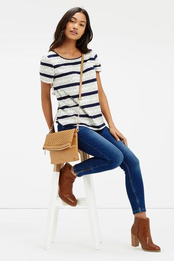 Oasis, Butterfly Stripe T-Shirt Navy 2