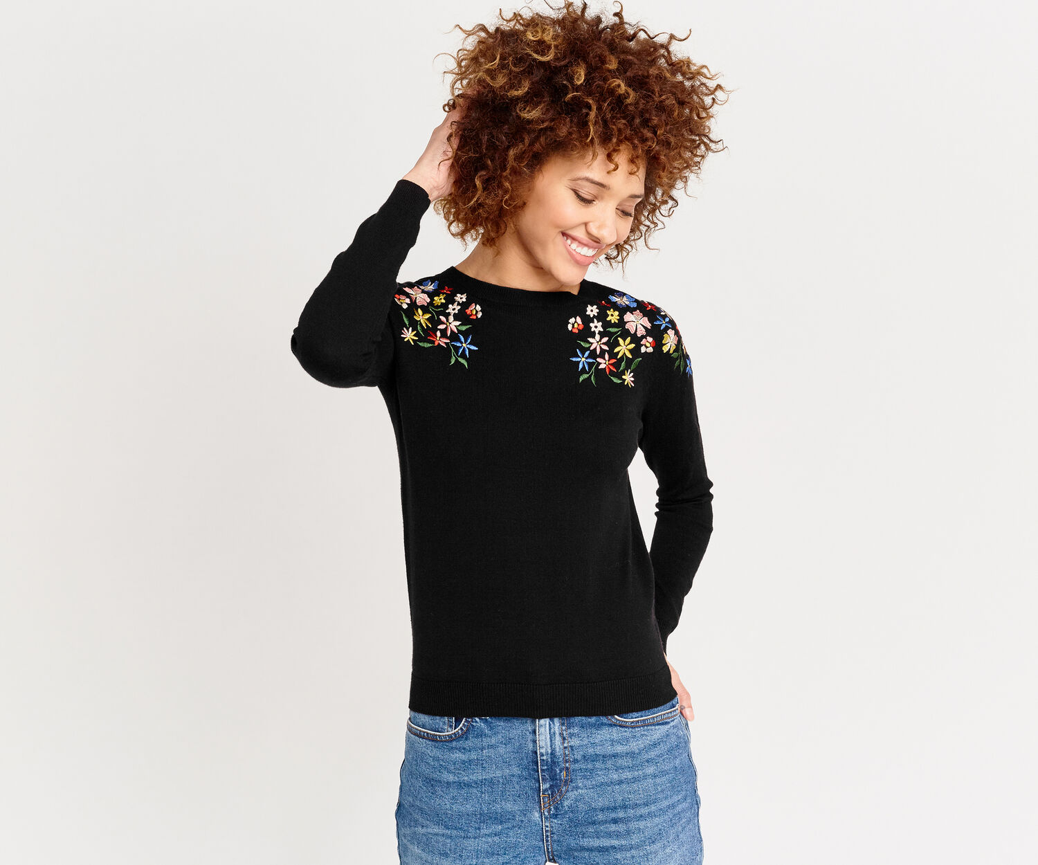 Oasis, EMBROIDERED FLORAL KNIT Black 1