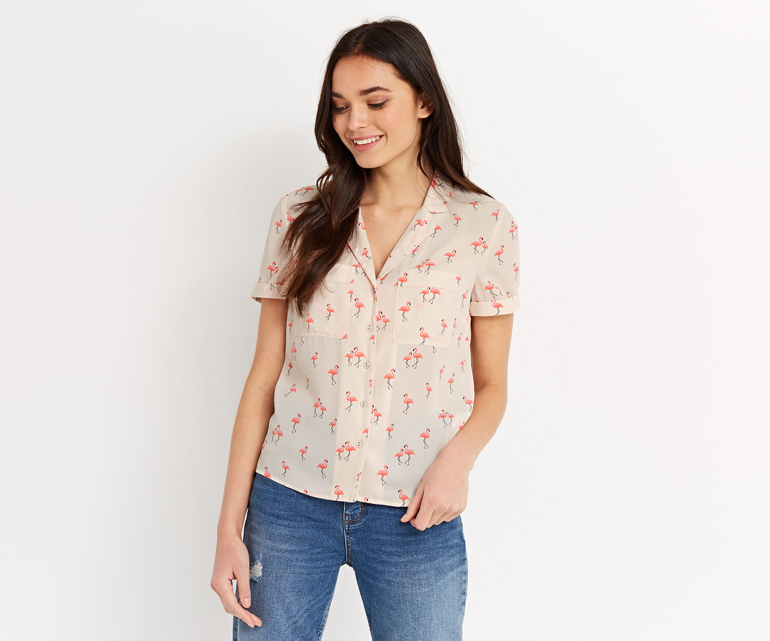 Oasis, FLAMINGO SHIRT Multi Natural 1