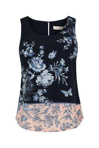 Oasis, Placement Floral Vest Multi Blue 0