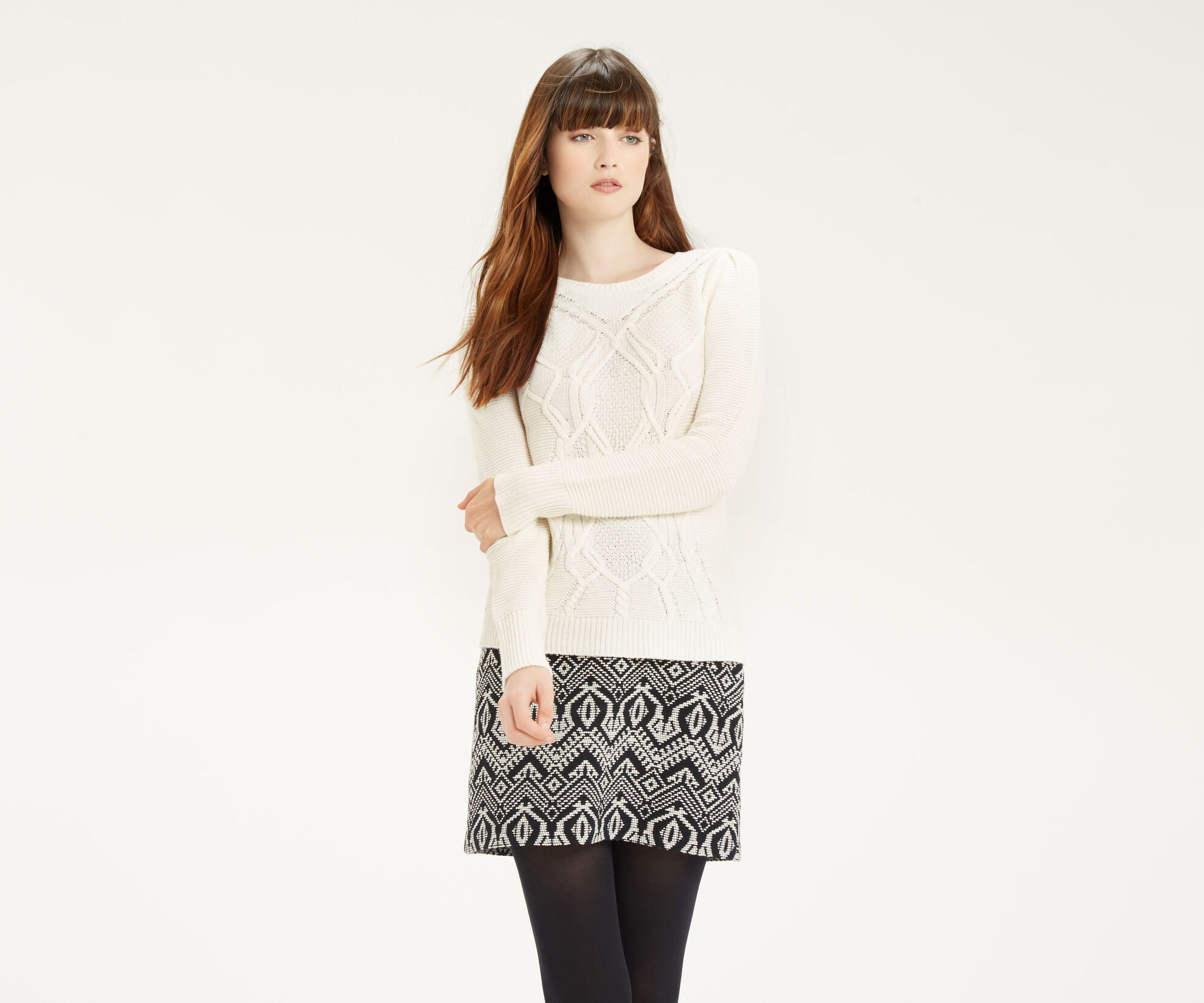 Oasis, Cute Cable Knit Off White 1