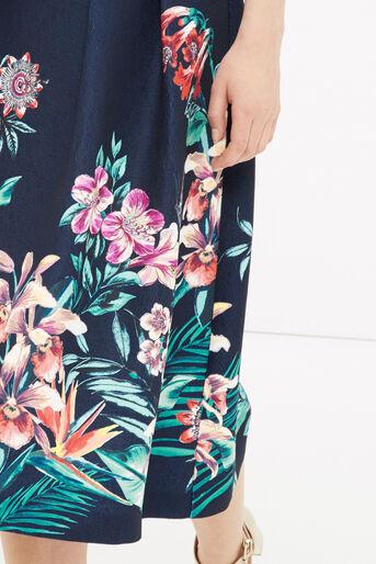 Oasis, Tropical Jacquard Midi Skirt Multi Blue 4