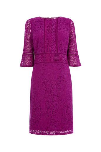 Oasis, LONG KICK SLEEVE LACE DRESS Deep Pink 0