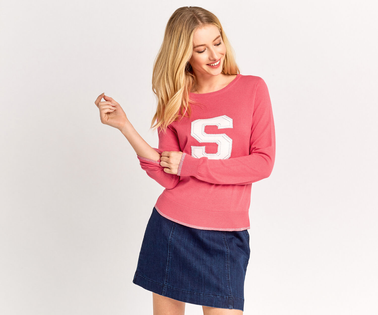 Oasis, S LETTER SWEATER Coral 1