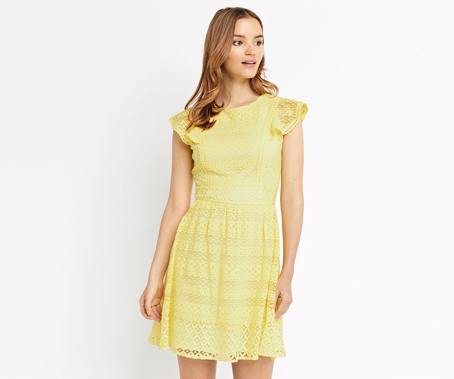 Oasis, LACE SKATER DRESS Mid Yellow 1