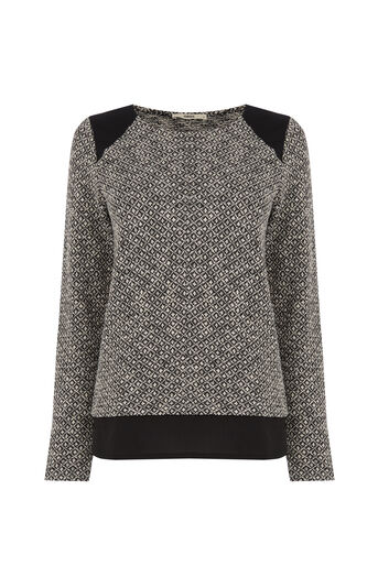 Oasis, Artisan Woven Back Sweat Black and White 0