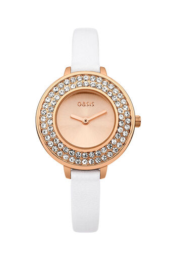 Oasis, White Leather Strap Watch White 0