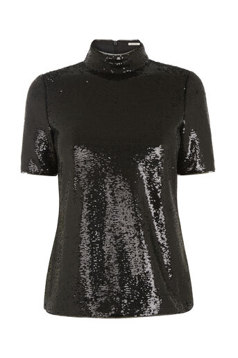 Oasis, SEQUIN HIGH NECK TOP Black 0