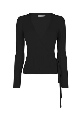 Oasis, Rib ballet wrap top Black 0