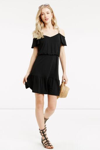 Oasis, Bardot Ruffle Hem Dress Black 2