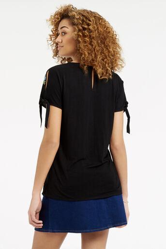 Oasis, Embroidered Floral Tie Side T- Black 3