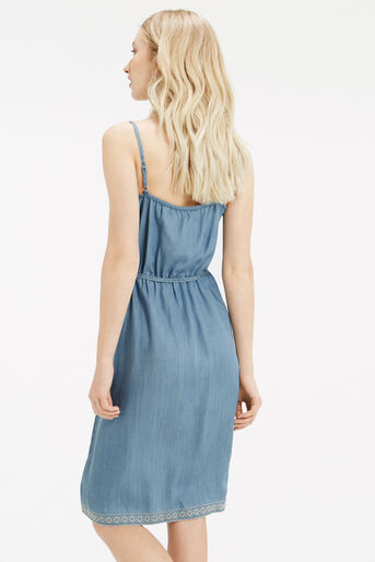 Oasis, Embroidered Cami Dress Light Wash 3