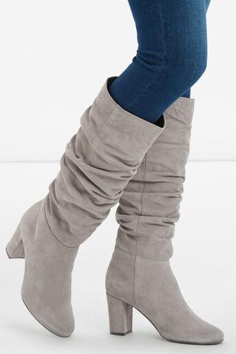 Oasis, Slouchy Block Heel Boot Mid Grey 2