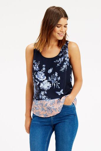 Oasis, Placement Floral Vest Multi Blue 1