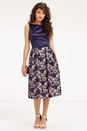 Oasis, ORGANZA MIDI DRESS Navy 2