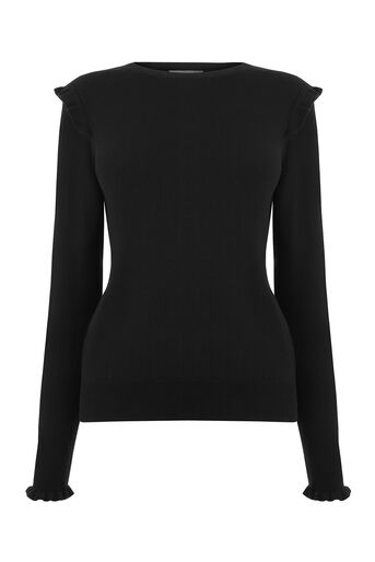Oasis, FRILL SHOULDER KNIT Black 0
